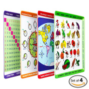 Educational Mealtime Plates for Kids, Set of 4 Unique Designs; Fun and Colourful Sturdy Melamine Plates for Children of All Ages; BPA Free