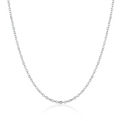 Tinksky 18K White Gold Round Cable Chain Diamond Pendant Necklace, gift for women