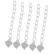 Jili Online 5 Piece 925 Sterling Silver 3.5cm Necklace Bracelet Extender Chain With Heart Drops for Jewellery Making DIY Crafts