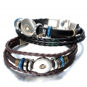Pack of 2 Black and Brown Colour Artificial Leather 21cm Snap Bracelets for 5.5mm DIY Snaps 18mm-20mm Snap Button Charms