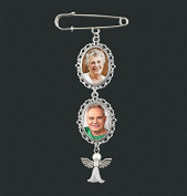 Wedding Boutonniere Angel Photo Charm Pin Brooch Cascading Double Frame for Mother of Bride or Groom or Flower Bouquet