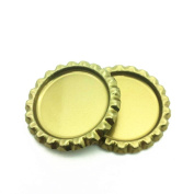 IGOGO Gold Chrome Bottle Caps for Hair Bows, DIY Pendants or Craft Scrapbooks