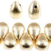 10x7mm 14kt Gold plated Copper Brushed Tear Drop Beads 8 inch 46 pieces