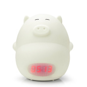 GoLine Alarm Clock Night Light, Cute Piggy Soft LED Multicolor Wake Up Lamp for Kids Bedroom, 2 Alarms, 3 Sounds, 7 Colours, Tap Control, Temperature Display, Easy Setting, AC/Battery Powered.