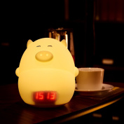 GUO Clock Night Light with Music,Cute Multicolor Silicone Pig Lamp 7-Colour (Static,Flashing),USB Rechargeable Touch Lighting for Children Baby Nursery Adults Bedroom