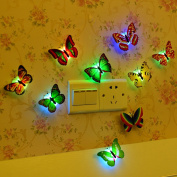 12Pcs 3D LED Butterfly Night Light Wall Stickers Switch For Kids Children Room Home Lights