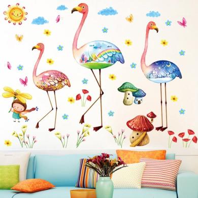 Wallpark Cartoon Creative Flamingo Little Girl Flower Removable Wall Sticker Decal, Children Kids Baby Home Room Nursery DIY Decorative Adhesive Art Wall Mural