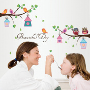 Wallpark Cartoon Cute Owl Bird Tree Branch House Falling Leaves Removable Wall Sticker Decal, Children Kids Baby Home Room Nursery DIY Decorative Adhesive Art Wall Mural