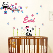 Wallpark Cute Panda Owl on Tree Branch Colourful Flower Butterfly Removable Wall Sticker Decal, Children Kids Baby Home Room Nursery DIY Decorative Adhesive Art Wall Mural
