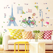 Wallpark Romantic Blue Flower Butterfly Eiffel Tower Girl Riding Bicycle Removable Wall Sticker Decal, Children Kids Baby Home Room Nursery DIY Decorative Adhesive Art Wall Mural