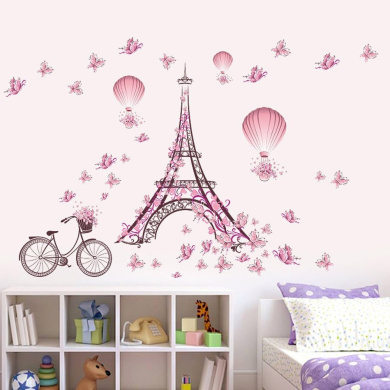 Wallpark Romantic Pink Butterfly Paris Eiffel Tower Flower Hot Air Balloon Removable Wall Sticker Decal, Children Kids Baby Home Room Nursery DIY Decorative Adhesive Art Wall Mural