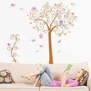 Wallpark Large Cartoon Cute Owl Butterfly Colourful Flower Tree Removable Wall Sticker Decal, Children Kids Baby Home Room Nursery DIY Decorative Adhesive Art Wall Mural