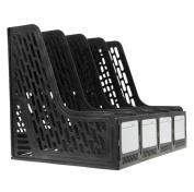 BXT Office School 4 Lattices Mesh Plastic A4 Magazine File Holder Black