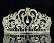 Janefashions Heart White Crystal Rhinestone Hair Tiara Crown Bridal Gold Jewellery Prom T12108g