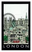 London Collage Cityscape Landmarks Tea Towel Black Border Famous Places Big Ben Red Bus St Pauls Tower Bridge
