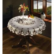 "Cream Tablecloth Round Lace 49"" 125cm"