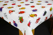 Funky Cows on WHITE Vinyl tablecloth table cover Karina Home 200cm x 137cm