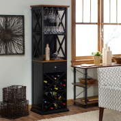 Hampton X-Style Design Wine Tower with 12 Wine Glasses Storage,24 Wine Bottles Storage and a Drawer Made w/ MDF and Maple Wood Veneers in Black/Oak 22W x 16D x 73H in.