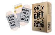 """Comfort Cotton Socks + Gift Box """"If you can read this bring me a cold Beer"""" Perfect Unisex Gift for Beer Lovers, Birthdays, White Elephant, Mother's Day,Father's Day, husband or Best Friend Beer Socks"""