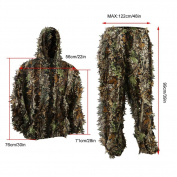 Zicac Outdoor 3D Leafy Leaves Camo Camouflage Clothing Jungle Woodland Hunting Ghillie Suit Free Size