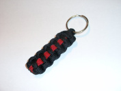 Thin Red Line Paracord Key Chain / Key Fob / Lanyard Pull - by RedVex - Black with Red Line - 7.6cm , 10cm , 15cm , and 20cm Lengths