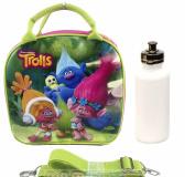 Dreamworks Trolls Life & Family Adjustable Shoulder Straps Lunch Bag Plus Water Bottle- GREEN