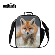 Dispalang Fox Print Lunch Bags for Children Girls Insulated Lunch Box Bags Small Kids Animal Lunch Container