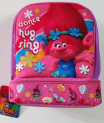 DreamWorks Trolls Character Poppy Dance Hug and Sing Dual Compartment Insulated Vertical Lunch Bag Zippered with Handle Measures 19cm W x 23cm H x 13cm Deep