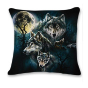 Usstore 1PC Decorative Pillowcases 3D Cute Wolf Throw Pillow Cover Cafe Home Decoration for Living Sofas Beds Room