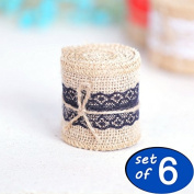 Regubi set of 6 organic Burlap belt burlap Jute Ribbon roll and lavender lace decoration for Mason jars and sewing projects and crafts centrepieces at rustic wedding 2M per roll 6.1cm Width