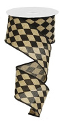 Harlequin Ribbon, Black and Tan Faux Burlap Ribbon, 6.4cm Wide x 10 Yards, Wired Edge