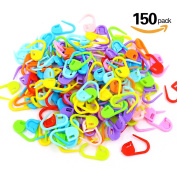 Swpeet 150 Pieces Mixed Colour Knitting Crochet Locking Stitch Markers Needle Clip Knitting Crochet Markers