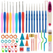 16 Sizes Crochet Hooks with Comfort Soft Rubber Grip Needles Stitches Set Knitting Craft Case 53 Pieces