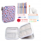 Teamoy Aluminium Crochet Hooks Set, Knitting Needle Kit, Organiser Carrying Case with 12pcs 2mm to 8mm Hooks and Complete Accessories, All in One Place and Easy to Carry, Purple Flowers
