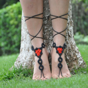 Flyusa Summer Beach Crochet Barefoot Sandals, Bridal Wedding Barefoot Sandals, Foot Jewellery, Footless Sandals, Slave Anklet, Wedding Accessories,Black Red