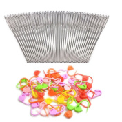 BronaGrand 20pcs 6.9cm Metal Large Eye Blunt Needles Yarn Needles + 50pcs Knitting Stitch Counter