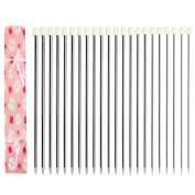 """11 Pairs 14"""" Single Pointed Needles Stainless Steel Knitting Needles Set, Size Assorted 2.0 to 8.0mm"""