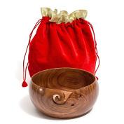 Hagestad Yarn Bowl -20cm x 10cm Rosewood Wooden & Travel Pouch Bundle