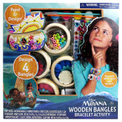 Disney Moana - WOODEN BANGLES BRACELET ACTIVITY - Design Your Very Own Wooden Bangles with Colourful Paint Included in the Set. Decorate with Cording, Beads, Fabric Flowers & Sparkly Gem Stickers!