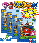 Super Wings Mini Figure Blind Packs with 3D Interactive Card Party Set Bundle - 4 Pack