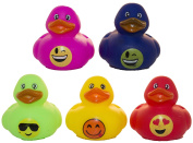 "Set of Five 5.1cm Rubber Duckies ""Smiley Faces"""