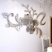 Franterd Wall Stickers - 3D Mirror Floral Art Background Wall Decoration - Creative Removable Acrylic Mural Decal Home Room Decor