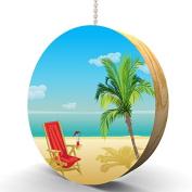 Beach Paradise Hardwood Oak Fan / Light Pull