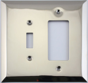 Jumbo Stamped Polished Nickel Two Gang Combo Wall Plate - One Toggle Light Switch One GFI/Rocker Switch