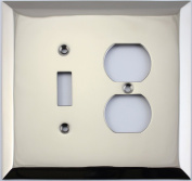 Jumbo Stamped Polished Nickel Two Gang Combo Wall Plate - One Toggle Light Switch One Duplex Outlet