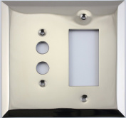 Jumbo Stamped Polished Nickel Two Gang Combo Wall Plate - One Push Button Light Switch One GFI/Rocker