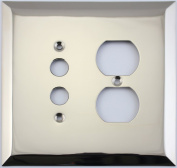 Jumbo Stamped Polished Nickel Two Gang Combo Wall Plate - One Push Button Light Switch One Duplex Outlet