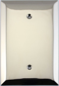 Jumbo Stamped Polished Nickel One Gang Blank Wall Plate