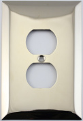 Jumbo Stamped Polished Nickel One Gang Duplex Outlet Wall Plate