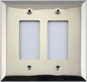 Jumbo Stamped Polished Nickel Two Gang GFI/Rocker Switch Wall Plate